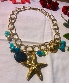 A jewel with a starfish handmade, decorated with natural stone