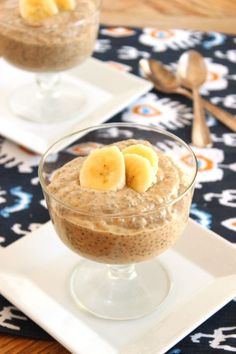 Banana Peanut Butter Chia Seed Pudding 2 very ripe bananas 1 cups low-fat milk cup natural creamy peanut butter 3 tablespoons chai seeds