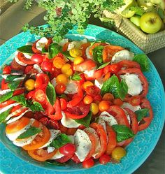 Tomato and Fresh Mozzarella Salad Mozzarella Salad, Fresh Mozzarella, Tomato Caprese, Caprese Salad, Savory Salads, Food For Thought, Italian Recipes, Entrees, Vegetarian Recipes