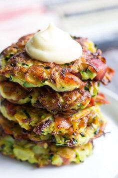 Zucchini Fritters (Paleo, These savory bacon zucchini fritters are easy to make, packed with veggies and downright addicting! They're delicious served as a side dish or appetizer with homemade ranch dip. These tasty fritters are also paleo, Paleo Recipes, Low Carb Recipes, Whole Food Recipes, Cooking Recipes, Gluten Free Zucchini Recipes, Coconut Milk Whole 30 Recipes, Clean Food Recipes, Keto Recipes With Bacon, Paleo Cauliflower Recipes