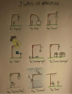 9 ways of Hangman. I think I laughed a little too hard at the last one lol. Funny Pins, Funny Memes, Jokes, Videos Funny, Funny Cute, The Funny, Super Funny, Haha, All Meme