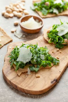 ... crisp rosemary parmesan flatbread with Arugula and Almonds