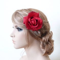 Caroline Rose Hair Clip in Red/ Fascinator / Brooch / by GlamFloral, $20.00