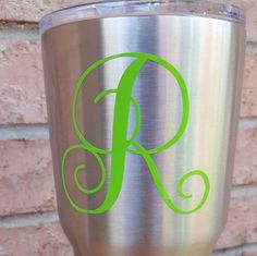 This is a vinyl monogram decal that can be placed on any kind of cup, tumbler, or water bottle / Nalgene. If you order and leave a cell phone number, I will text you a proof, and a picture of the colors so you can give a final ok.  NO EXTRA CHARGE FOR GLITTERY COLORS.  Please leave initial details in the order form.