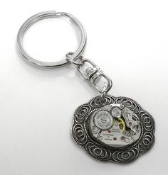 Steampunk Keychain Watch Movement Ornate SCROLL Details Steampunk Jewelry by edmdesigns via Edmdesigns