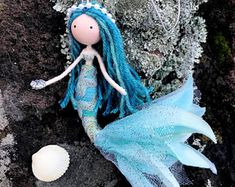 Blue Little Mermaid Doll, Little Mermaid Ornament, Under The Sea Mermaid, Mermaid Bendy Doll, Ocean Beach Gift Ideas, Miniature Mermaid Doll