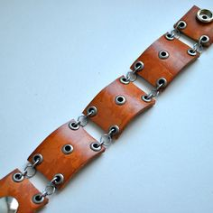 Leather Cuff / Bracelet with Eyelets
