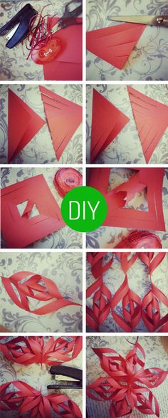 DIY Christmas Decorations – Paper snowflakes! Would do them in blue and white!