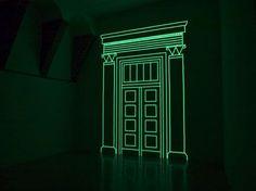 Marina Fulgeri - Light Dislocation 2006, nastro fotoluminescente, velcro, dimensioni reale. Vista dell'installazione, Galleria Continua, Arco dei Becci 1, San Gimignano. Ph. Ela Bialkowska