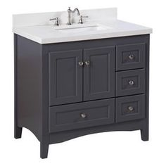 Kitchen Bath Collection Abbey Single Sink Bathroom Vanity with Marble Countertop, Cabinet with Soft Close Function and Undermount Ceramic Sink, Carrara/Charcoal Gray, Shaker Style Cabinets, Grey Cabinets, Bathroom Cabinets, Basement Bathroom, Bathroom Furniture, Kitchen Cabinets, Vanity Cabinet, Vanity Set, Vanity Ideas