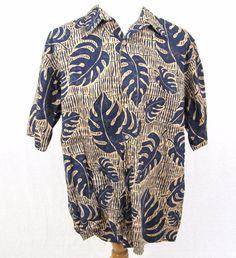 Reyn Spooner Hawaiian Shirt XXL Phil Edwards Bamboo Tree Floral Fern Aloha Camp #ReynSpooner #Hawaiian