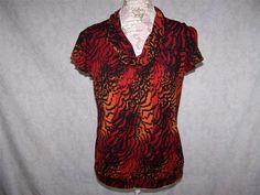 WORTHINGTON Shirt Top L Nylon Stretch Animal Print Short Sleeve Orange Black #Worthington #KnitTop #Casual