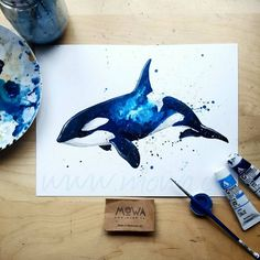 Orca Whales Watercolor Painting Print 5 x 7 by PriscillaGeorgeArt Watercolor Galaxy, Galaxy Painting, Galaxy Art, Watercolor Paintings, Tattoo Watercolor, Whale Painting, Whale Drawing, Watercolor Whale, Galaxy Space