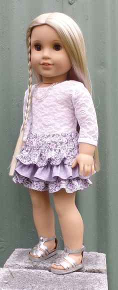 American Girl Doll clothes:  lace tee with mixed-print ruffled skirt