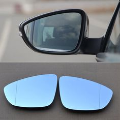 89.99$  Buy here - http://ai9cb.worlditems.win/all/product.php?id=32762282623 - 2pcs New Power Heated w/Turn Signal Side View Mirror Blue Glasses For VW Magotan 200-