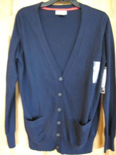 NWT JCP Cashmere Blend Ladies V Neck Cardigan Navy Blue Size Large Ret $38.  Classic, basic, wardrobe MUST HAVE!