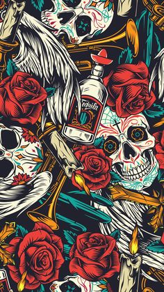 Seamless pattern with Skull, tequila, red roses and candles. Gothic Wallpaper, Crazy Wallpaper, Pop Art Wallpaper, Trippy Wallpaper, Cartoon Wallpaper, Wallpaper Backgrounds, Wallpaper Patterns, Graffiti Wallpaper Iphone, Deadpool Wallpaper
