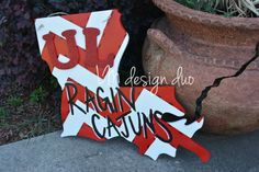Wooden Louisiana Door Hanger - UL Ragin Cajuns