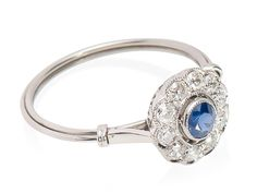 Sapphire Diamond Halo Ring - The Three Graces