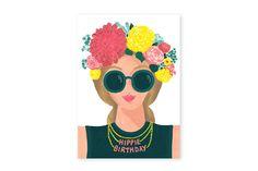 Hippie girl, happy brithday card - www.allthewaystos... -