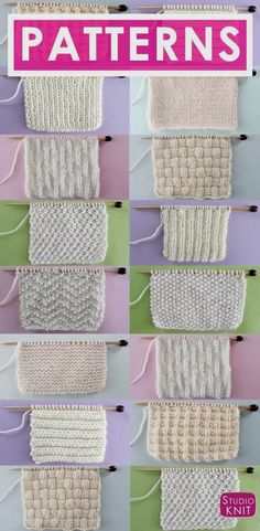 Knit and Purl Stitch Patterns with Free Patterns and Video Tutorials in the Abso. Knit and Purl stitch patterns with free patterns and video tutorials in the Absolute Beginner Knitting Series by Studio Knit Source. Baby Knitting Patterns, Knitting Stiches, Free Knitting, Crochet Patterns, Pearl Stitch Knitting, Easy Patterns, Knitting And Crocheting, Knitted Dishcloth Patterns Free, Sewing Patterns