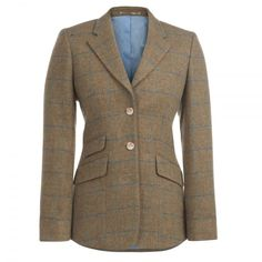 A beautiful tweed hacking style jacket. The fabric is a soft camel tweed with a blue check. It is designed and woven in our mill in Donegal. The lining has a Liberty print panel. A tailored fitting garment.
