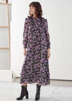 Printed Ruffle Bib Midi Dress