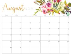 Floral August 2020 Calendar Printable August Calendar, Cute Calendar, Blank Calendar, Yearly Calendar, Calendar 2020, Desk Calendars, Calendar 2019 Printable, 2020 Calendar Template, Timetable Template