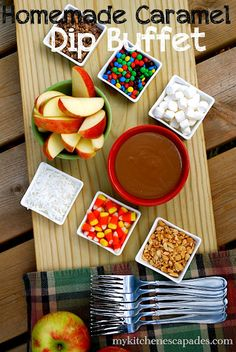 Homemade Caramel Apple Dip - serve it as a buffet with your favorite toppings then invite your friends over for the fun. Great fall dessert or sweet treat. Perfect for halloween parties or classroom treats