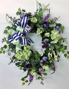 Green, Purple and Cream Silk Floral Spring Front Door Wreath with Hydrangeas/Spring Wreath/Summer Wreath/Hydrangea Wreat Spring Front Door Wreaths, Christmas Mesh Wreaths, Holiday Wreaths, Spring Wreaths, Winter Wreaths, Prim Christmas, Green Hydrangea, Hydrangea Wreath, Diy Wreath