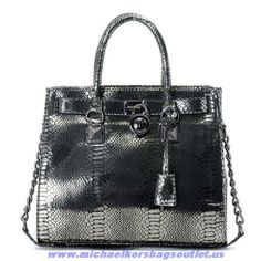 Authentic Michael Kors Hamilton Large Python-embossed Tote Silver For Wholesale