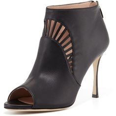 Sergio Rossi Leather Peep-Toe Bootie ($437) ❤ liked on Polyvore featuring shoes, boots, ankle booties, black, black cut out booties, ankle boots, leather ankle boots, black high heel booties and high heels stilettos