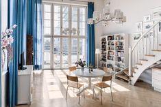 #largewindow #berlin #livingroom Large Windows, Sweet Home, Curtains, Contemporary, Living Room, Interior Design, Cool Stuff, Furniture, Home Decor