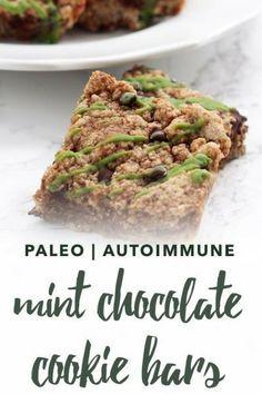 Paleo mint chocolate cookie bars, with an Autoimmune Paleo option | Empowered Sustenance Chocolate Cookie Bars, Paleo Chocolate, Mint Chocolate, Paleo Fruit, Paleo Dessert, Paleo Recipes, Snack Recipes, Free Recipes, Dessert Recipes
