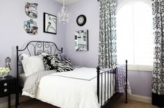 Rooms We'd Love to Live In: Black, White & Lavender Damask Teen Room
