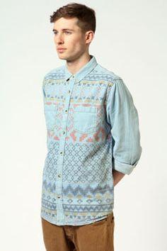 Work /// Play - this shirt works hard for you.  www.boohoo.com  #trend #menswear #denim