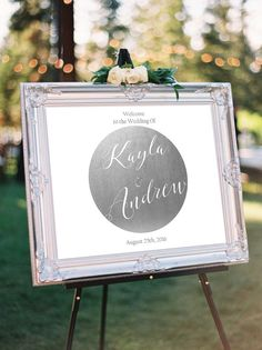 Silver Wedding Welcome Sign, modern welcome wedding sign