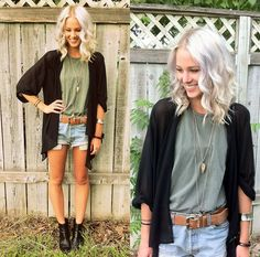 Lookbook Women's Fashion - Casual look; cardigan, flowing top, jean shorts, and boots. Very cute!