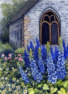 ACEO Original Miniature Watercolor Painting Garden Flowers by Elena Mezhibovsky #Miniature