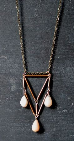 Triangular Brass Necklace with Pink Opals