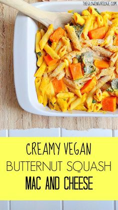 Creamy Vegan Butternut Squash Mac and Cheese - A healthy and cheesy recipe that anyone will devour! Comforting, simple, and guilt-free! From The Glowing Fridge