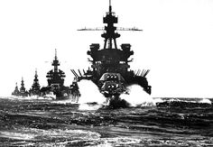 Battleship USS Pennsylvania, followed by three cruisers, moves in line into Lingayen Gulf preceding the landing on Luzon, in the Philippines, in January of 1945.