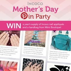 Enter to WIN our Mother's Day Pin Party! @Mimi Boutique and #Incoco have got a real treat for you this Mother's Day! You could win a year's supply of Incoco nail strips and a Nadia Satchel Turquoise from Mimi Boutique! To enter, click this pic or visit: http://woobox.com/fodujm to enter! #contest #pintowin