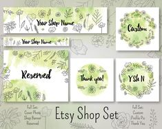 Wildflower contour Watercolor Etsy Shop Set, Premade Etsy Banner, Etsy Shop Banner,  Cover Etsy Shop, Icon, Avatar Etsy Shop, Rush my order