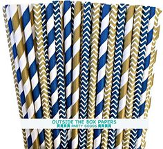 Navy Blue and Gold Chevron and Stripe Paper Straws -Birthday Party Supply Wedding, Bridal Shower 100%Biodegradable 7.75 Inches Pack of 100