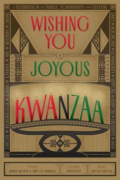 Wishing You A Joyous Kwanzaa - featuring typefaces Afrika Motifs and Trio CT from Castletype - art by Nicole Dalton #fonts #typography
