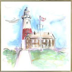 Highland Dunes 'Montauk Lighthouse' Print Format: Gold Metal Framed Paper