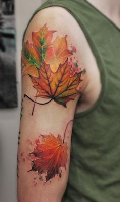 What does leaf tattoo mean? We have leaf tattoo ideas, designs, symbolism and we explain the meaning behind the tattoo. Vine Tattoos, Flower Tattoos, Body Art Tattoos, Fall Leaves Tattoo, Autumn Tattoo, Piercing Tattoo, Arm Tattoo, Sleeve Tattoos, Compass Tattoo
