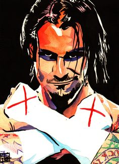"""CM Punk l Ink, colored pencil and watercolor on 9"""" x 12"""" watercolor paper l #WWE"""