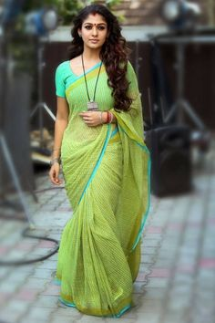 Nayanthara in Lime Green Saree